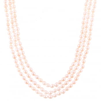 5-6mm pink endless pink freshwater pearl necklace