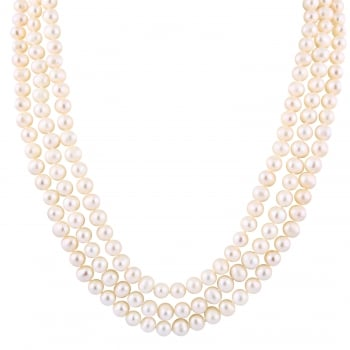 Bella Pearls 6.5-7mm white endless white freshwater pearl necklace