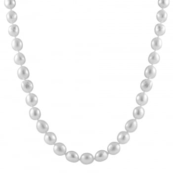 Bella Pearls sterling silver rhodium plated 10-11mm white freshwater pearl necklace