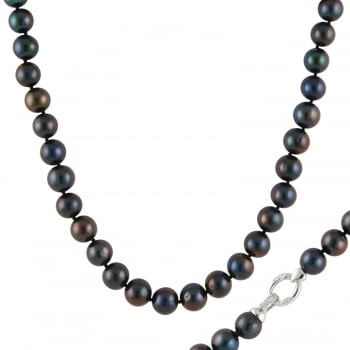 Bella Pearls sterling silver rhodium plated 10-11mm black 10-11mm white freshwater pearl necklace with fancy sterling silver clasp