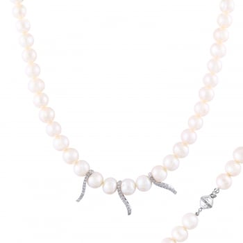 Bella Pearls sterling silver rhodium plated 10-11mm white fancy triple freshwater pearl and cz stationed necklace