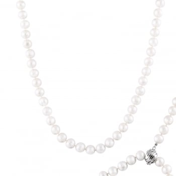 Bella Pearls sterling silver rhodium plated 8-8.5mm white freshwater pearl necklace