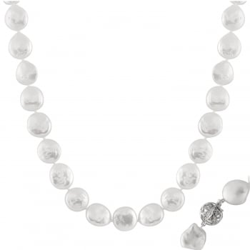 Bella Pearls sterling silver 14-15mm white freshwater pearl necklace