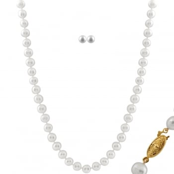 Bella Pearls 14ct yellow gold plated brass 7.5-8mm white freshwater pearl 2 piece set