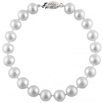Bella Pearls sterling silver rhodium plated 10-10.5mm white freshwater pearl bracelet