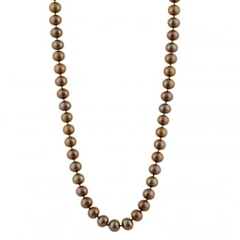 Bella Pearls sterling silver rhodium plated 8-8.5mm brown freshwater pearl necklace