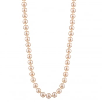Bella Pearls sterling silver rhodium plated 8-8.5mm pink freshwater pearl necklace