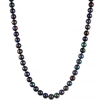 Bella Pearls sterling silver rhodium plated 9-9.5mm black freshwater pearl necklace