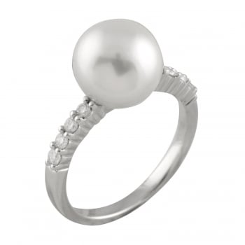 Bella Pearls 14ct white gold 10-10.5mm white south sea pearls and 0.22ct diamond ring
