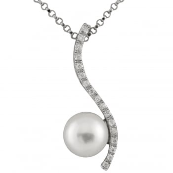 Bella Pearls 14ct white gold 7-7.5mm white japanese akoya pearls and 0.06ct diamond pendant