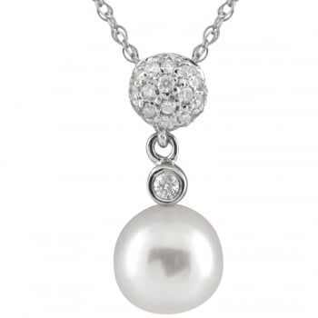 Bella Pearls 14ct white gold 7-7.5mm white freshwater pearl pendant