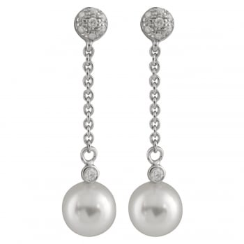 Bella Pearls 14ct white gold 7-7.5mm white japanese akoya pearls 0.115ct diamond earrings