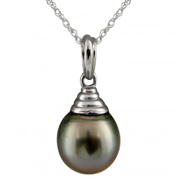 Bella Pearls 14ct white gold 9-9.5mm black tahitian pearl pendant
