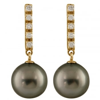 Bella Pearls 14ct yellow gold 9-9.5mm black tahitian pearl and 0.20ct diamond earrings