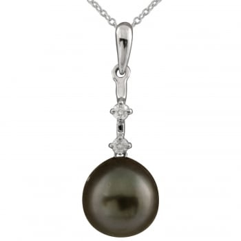 Bella Pearls 14ct white gold 8-8.5mm black tahitian pearl and diamond pendant