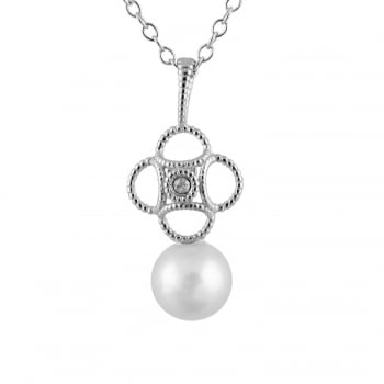 Bella Pearls 14ct white gold 6-6.5mm white freshwater pearl pendant