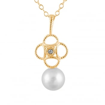 Bella Pearls 14ct yellow gold 6-6.5mm white freshwater pearl pendant