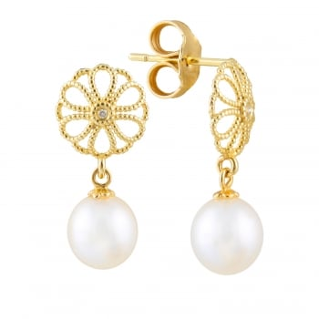 Bella Pearls 14ct yellow gold 7-7.5mm white freshwater pearl earrings