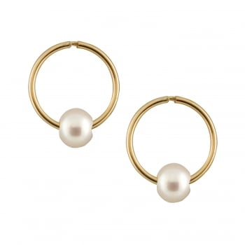 Bella Pearls 14ct yellow gold 5-5.5mm white freshwater pearl earrings