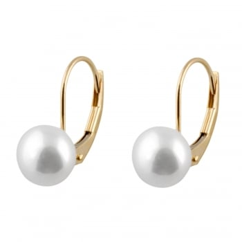 Bella Pearls 14ct yellow gold 7-8mm white freshwater pearl earrings