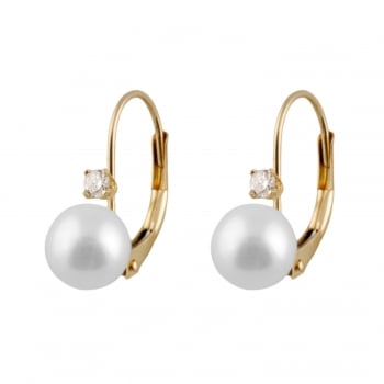 Bella Pearls 14ct yellow gold 7-7.5mm white Akoya Pearl and diamond leverback earrings