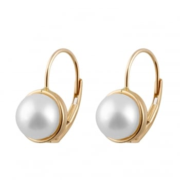Bella Pearls 14ct yellow gold 7-7.5mm black Akoya Pearl and diamond leverback earrings