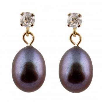 Bella Pearls 14ct yellow gold 7-7.5mm black freshwater pearl and cz dangling earrings