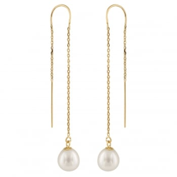 Bella Pearls 14ct yellow gold 7.5-8mm white freshwater pearl earring