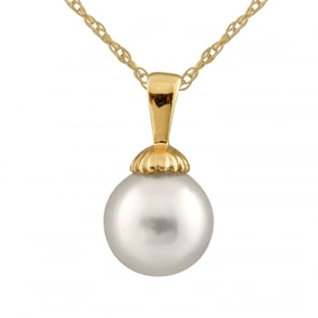 Bella Pearls 14ct yellow gold 9-10mm white south sea pearls pendant
