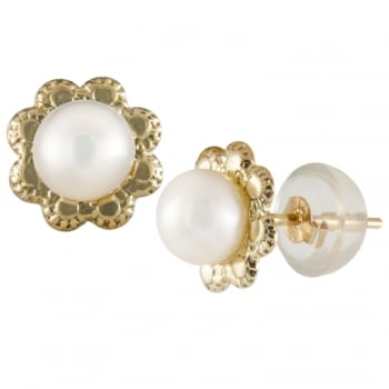 Bella Pearls 14ct yellow gold 4-5mm white freshwater pearl earrings