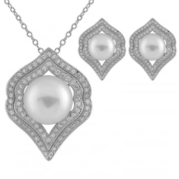 Bella Pearls sterling silver rhodium plated 7-7.5mm, 10-10.5mm white freshwater pearl set