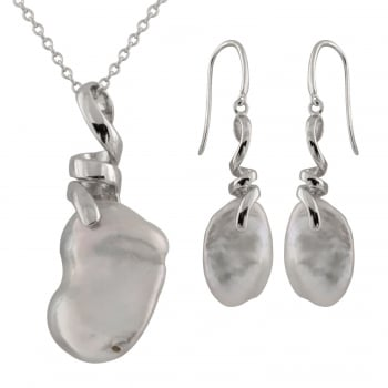 Bella Pearls sterling silver rhodium plated 10-11mm white freshwater keshi pearl 2 piece set