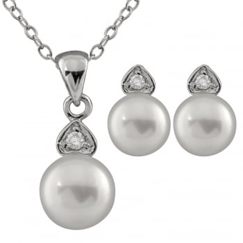 Bella Pearls sterling silver rhodium plated 6-7mm white freshwater pearl 2 piece cz pearl set