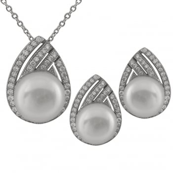 Bella Pearls sterling silver rhodium plated 7-8mm white freshwater pearl set