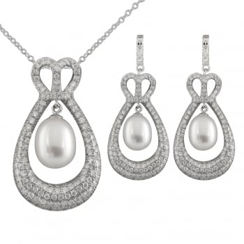 Bella Pearls sterling silver rhodium plated 6-7mm, 8-8.5mm white freshwater pearl dangling micropave cz set