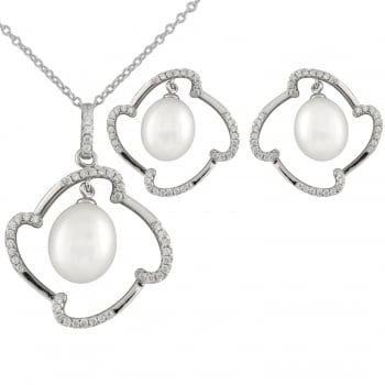 Bella Pearls sterling silver rhodium plated 8-9mm, 9-10mm white freshwater set