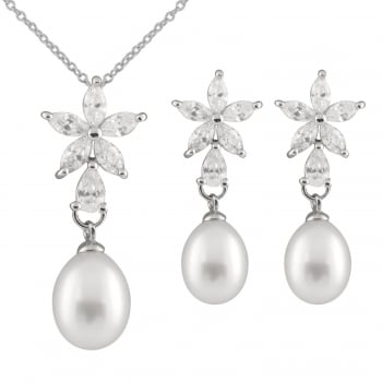 Bella Pearls sterling silver rhodium plated 7-8mm white freshwater pearl fancy star shaped 2 piece set