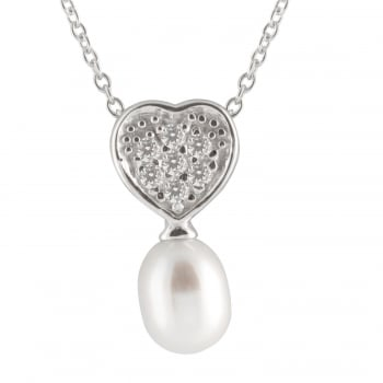 Bella Pearls sterling silver rhodium plated 7.5-8mm white freshwater pearl pendant