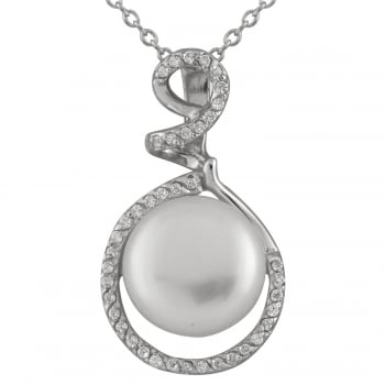 Bella Pearls sterling silver rhodium plated 11-11.5mm white freshwater pearl pendant
