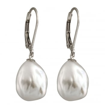 Bella Pearls sterling silver rhodium plated 11-12mm white freshwater pearl earrings