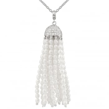 sterling silver rhodium plated 4-5mm white freshwater pearl pendant
