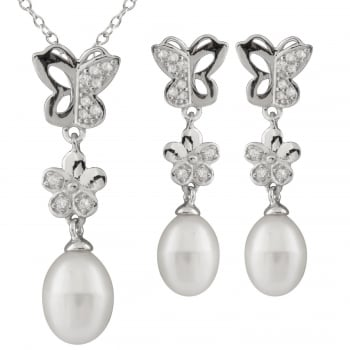 Bella Pearls sterling silver rhodium plated 7.5-8mm white freshwater pearl set