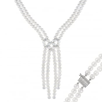 Bella Pearls sterling silver rhodium plated 6-6.5mm white freshwater pearl necklace