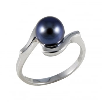 Bella Pearls sterling silver rhodium plated 7.5-8mm black freshwater pearl ring