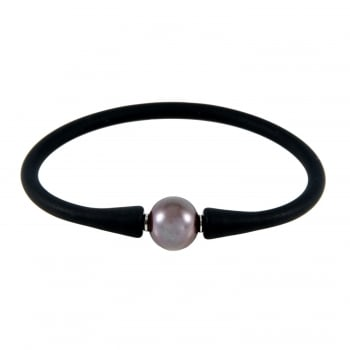 Bella Pearls stainless steel 10-11mm black freshwater pearl bracelet
