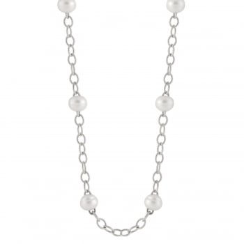 Bella Pearls sterling silver rhodium plated 12-12.5mm white freshwater pearl necklace