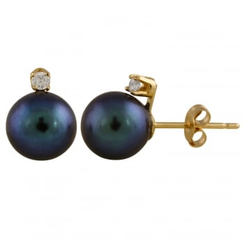 Bella Pearls 14ct yellow gold 7-7.5mm black freshwater pearl earrings