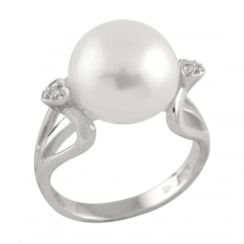 Bella Pearls sterling silver rhodium plated 12-12.5mm white freshwater pearl ring