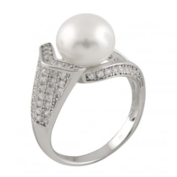 Bella Pearls sterling silver rhodium plated 9-9.5mm white freshwater pearl ring