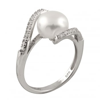 Bella Pearls sterling silver rhodium plated 8-8.5mm white freshwater pearl and cz ring